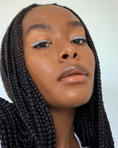Glossier's Colorslide eye pencil on model.