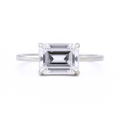 EVA EAST WEST EMERALD CUT 1.75CT MOISSANITE ENGAGEMENT RING