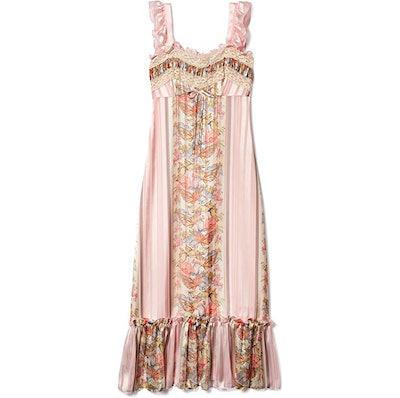 Anna Sui Blush Butterfly Ribbon Stripe Dress