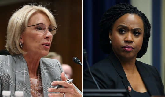 Rep. Ayanna Pressley tore into Education Secretary Betsy DeVos over her repeated demands for schools...