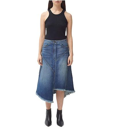 Colovos Asymmetrical Seamed Denim Skirt