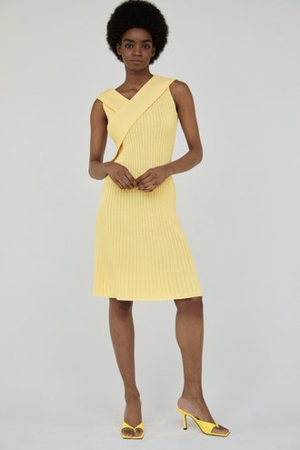 Front Wrap Ribbed Knit Dress