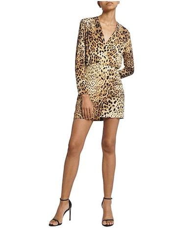 CUSHNIE Tan Leopard Deep V Mini Dress