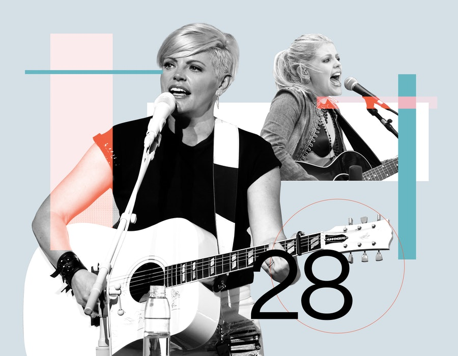 Natalie Maines in 2003, and now