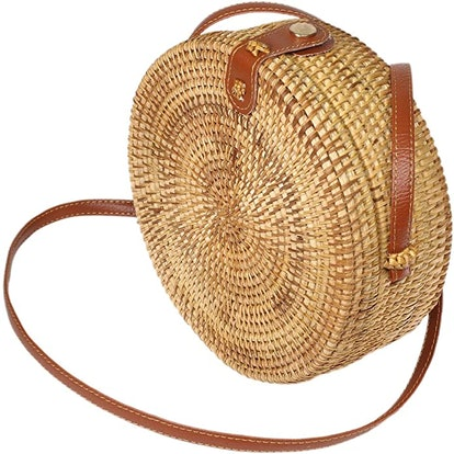 H Stars Handwoven Round Rattan Bag