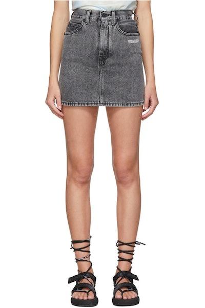 Grey Denim Miniskirt