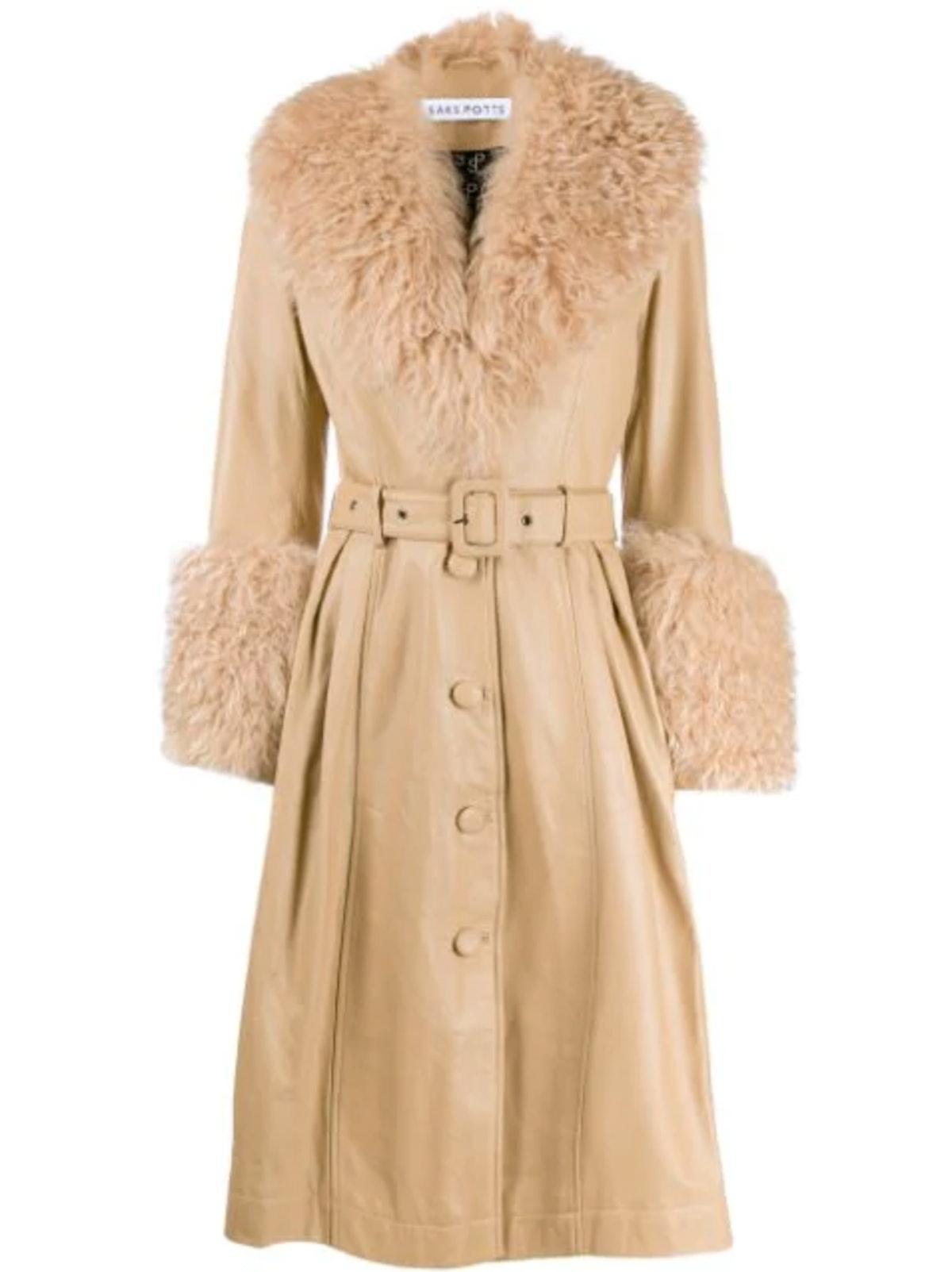 Textured Trim Belted Coat