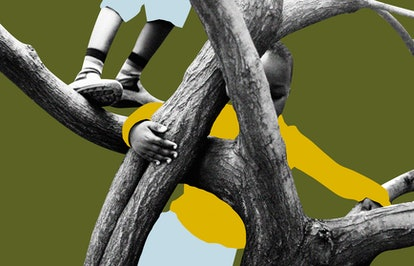 A child's feet on a branch