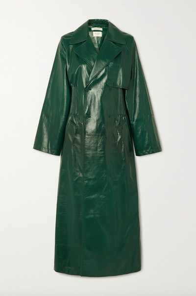 Double-Breasted Shirred Glossed-Leather Trench Coat