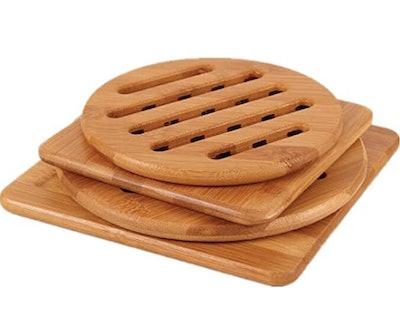 MUWENTY Natural Bamboo Trivet Mat Set (4-Pack)