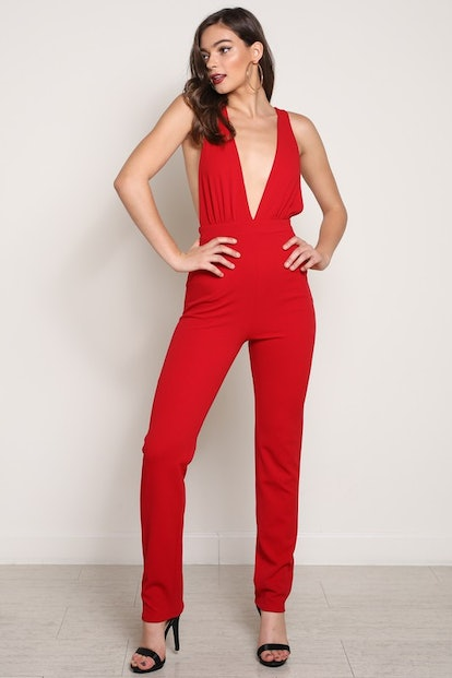 Red Low Plunging Jumpsuit