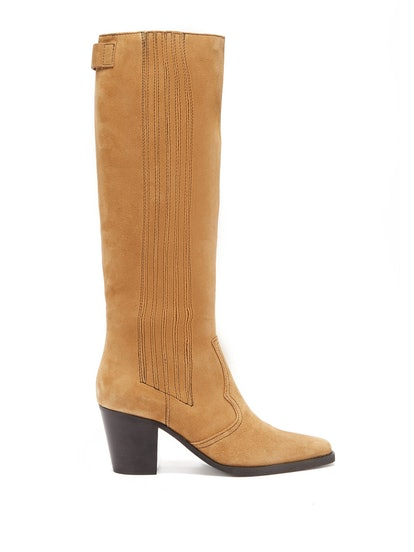 Square-Toe Suede Knee-High Boots