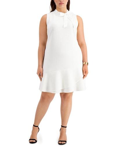 Trendy Plus Size Tie-Neck A-Line Dress