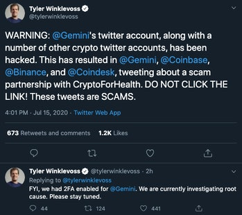 A warning from Tyler Winklevoss.