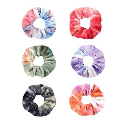 DINPREY Premium Velvet Scrunchies (6-Pack)