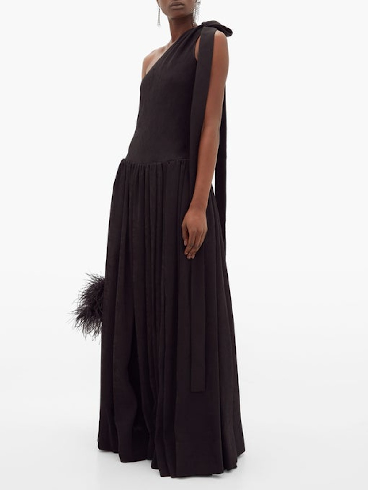 One-Shoulder Ribbed-Jersey Maxi Dress
