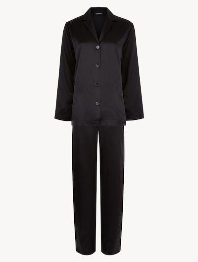 Black Silk Pyjama Set