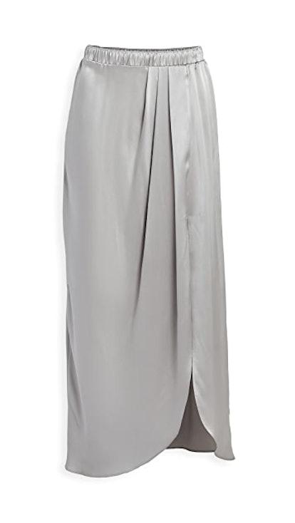 Ariel Satin Pleated Slit Skirt