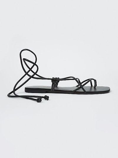 Black Strappy Tie Ankle Sandals