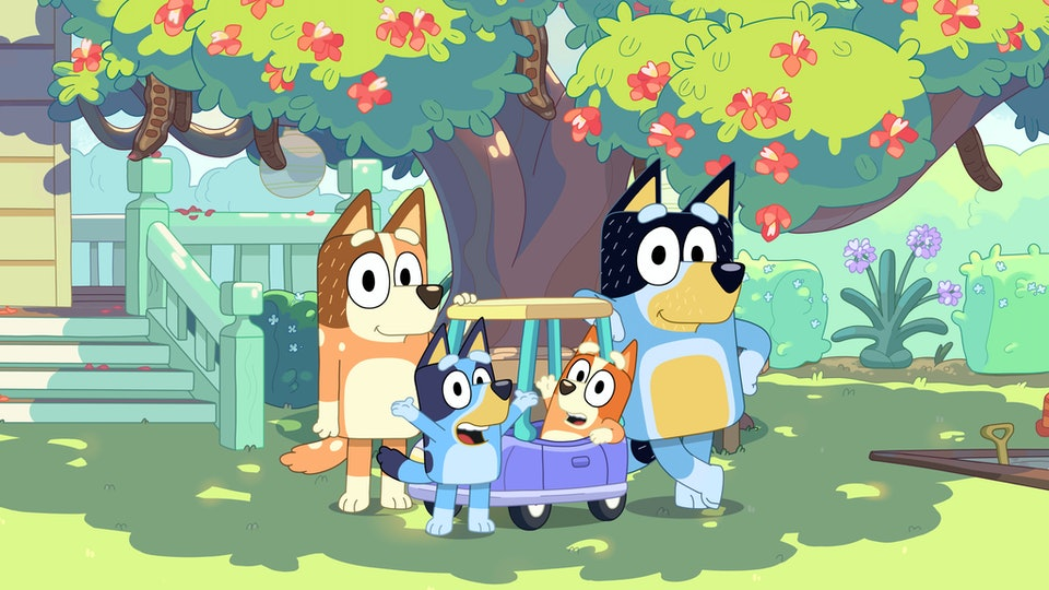 Bluey and Bandit are voiced by everyday kids