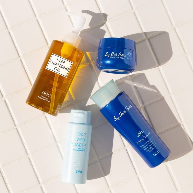 DHC's By The Sea Mineral Lotion & Cream by Deep Cleansing Oil and Face Wash powder.