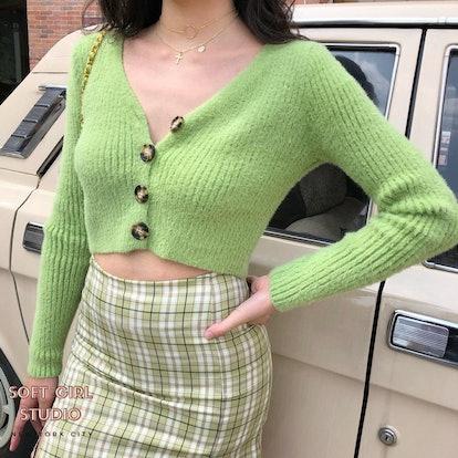 Soft Girl Studio Adrienne Fluffy Cropped Cardigan