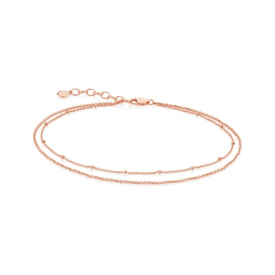 Rose Gold Beaded Double Chain Anklet