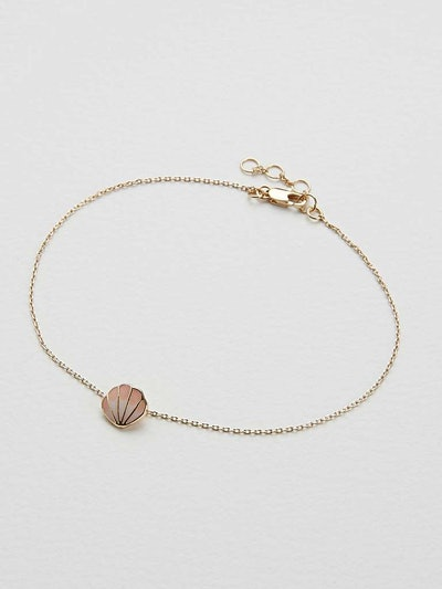 Coralia Shell Charm Pink Chain Anklet