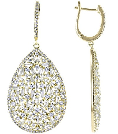 Cubic Zirconia Yellow Gold Earrings