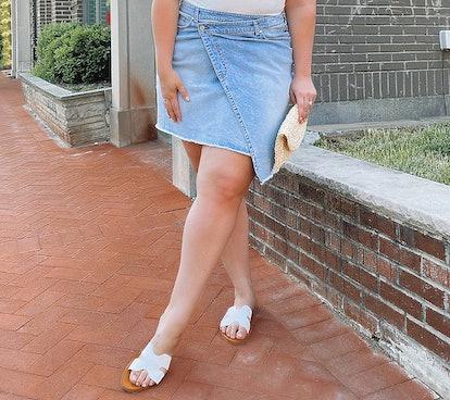 All Worthy Hunter McGrady Asymmetrical Denim Skirt