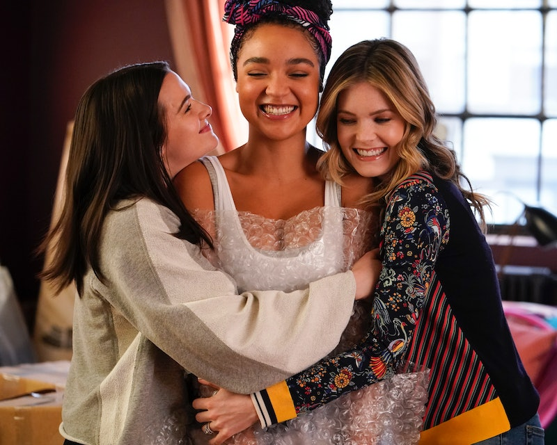 Kat, Jane, and Sutton hugging on The Bold Type via the Freeform press site
