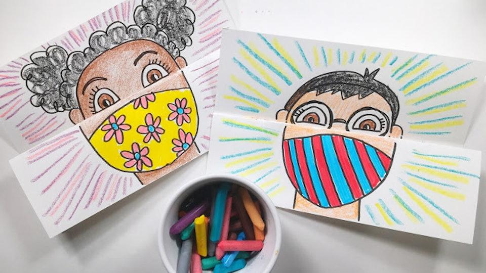 face mask self-portrait art project