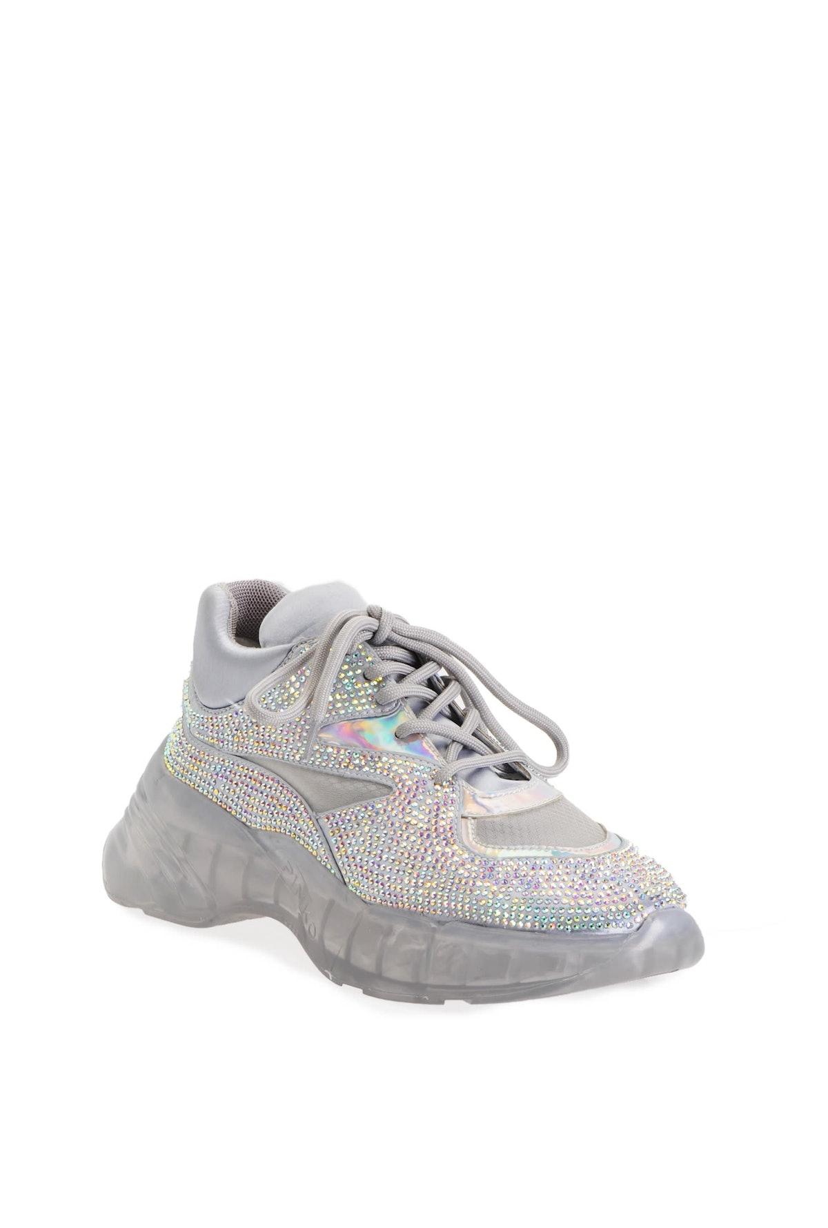 PINKO Full Rhinestone Diamond Sneakers