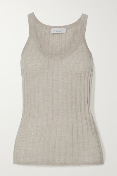 Nevin Ribbed Pointelle-Knit Cashmere And Silk-Blend Tank