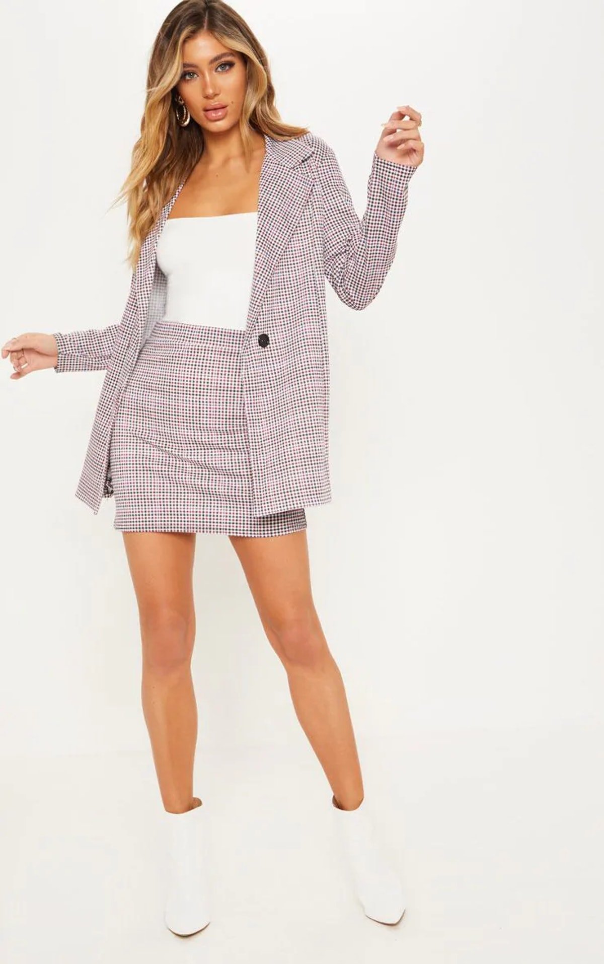 PrettyLittleThing Navy Checked Double Breasted Blazer