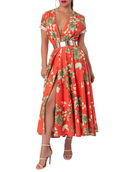 "FKSP ""Mai Tai"" Floral Coral Gathered Midi Dress"