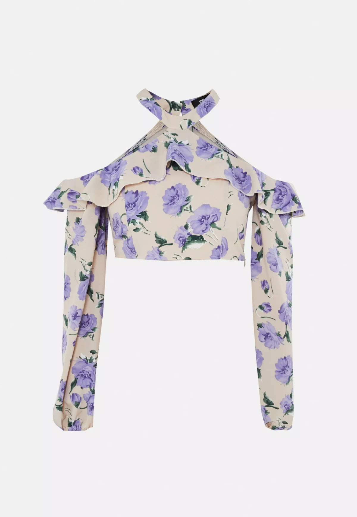 Missguided Purple Co Ord Floral Cold Shoulder Crop Top