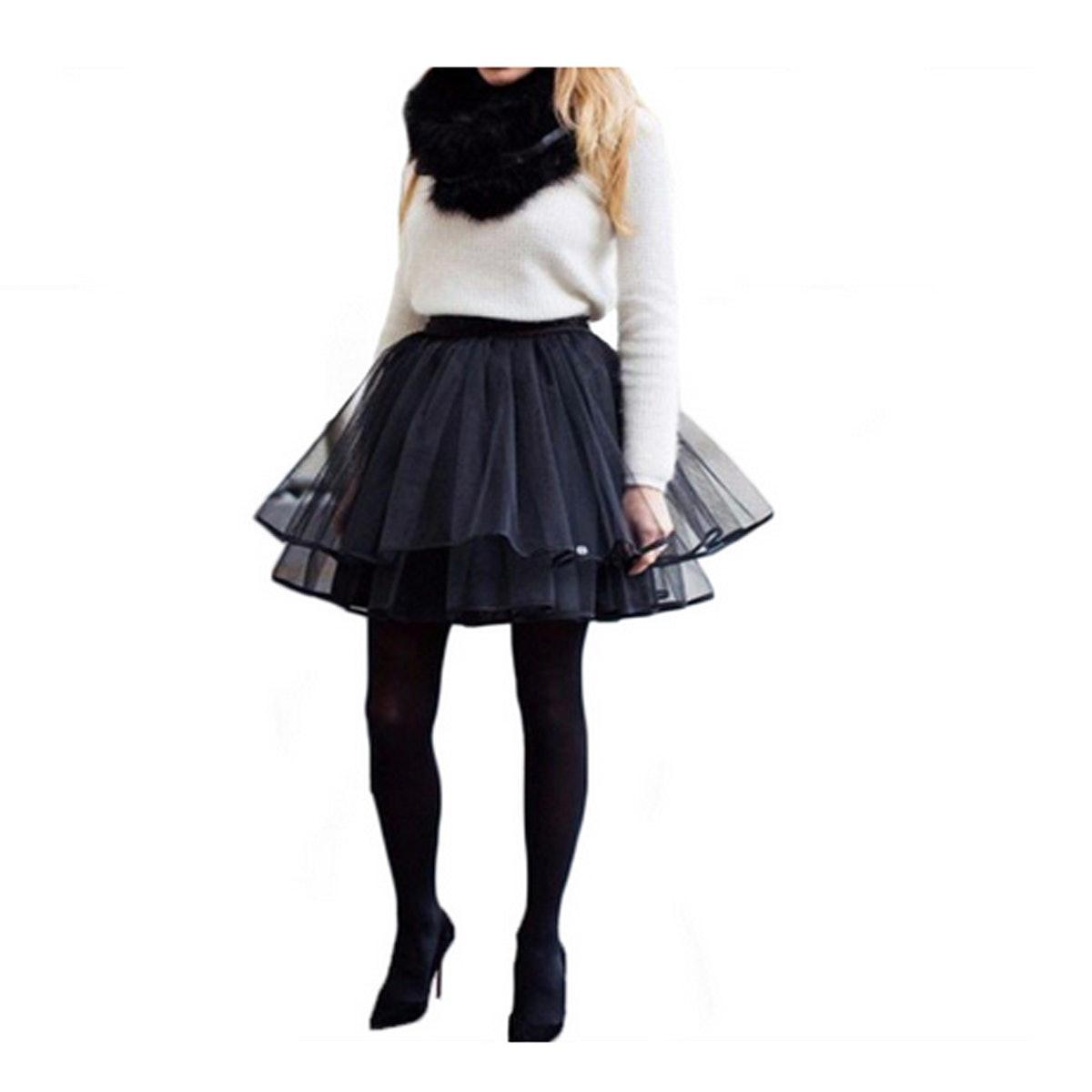 Bagilaanoe Women Tutu Tulle A line Skirt Short Prom Party above Knee Length Petticoat Dress