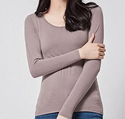Rofala Thermal Built-In Bra Long Sleeve Yoga T-Shirt