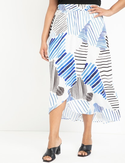Printed Wrap Front Maxi Skirt