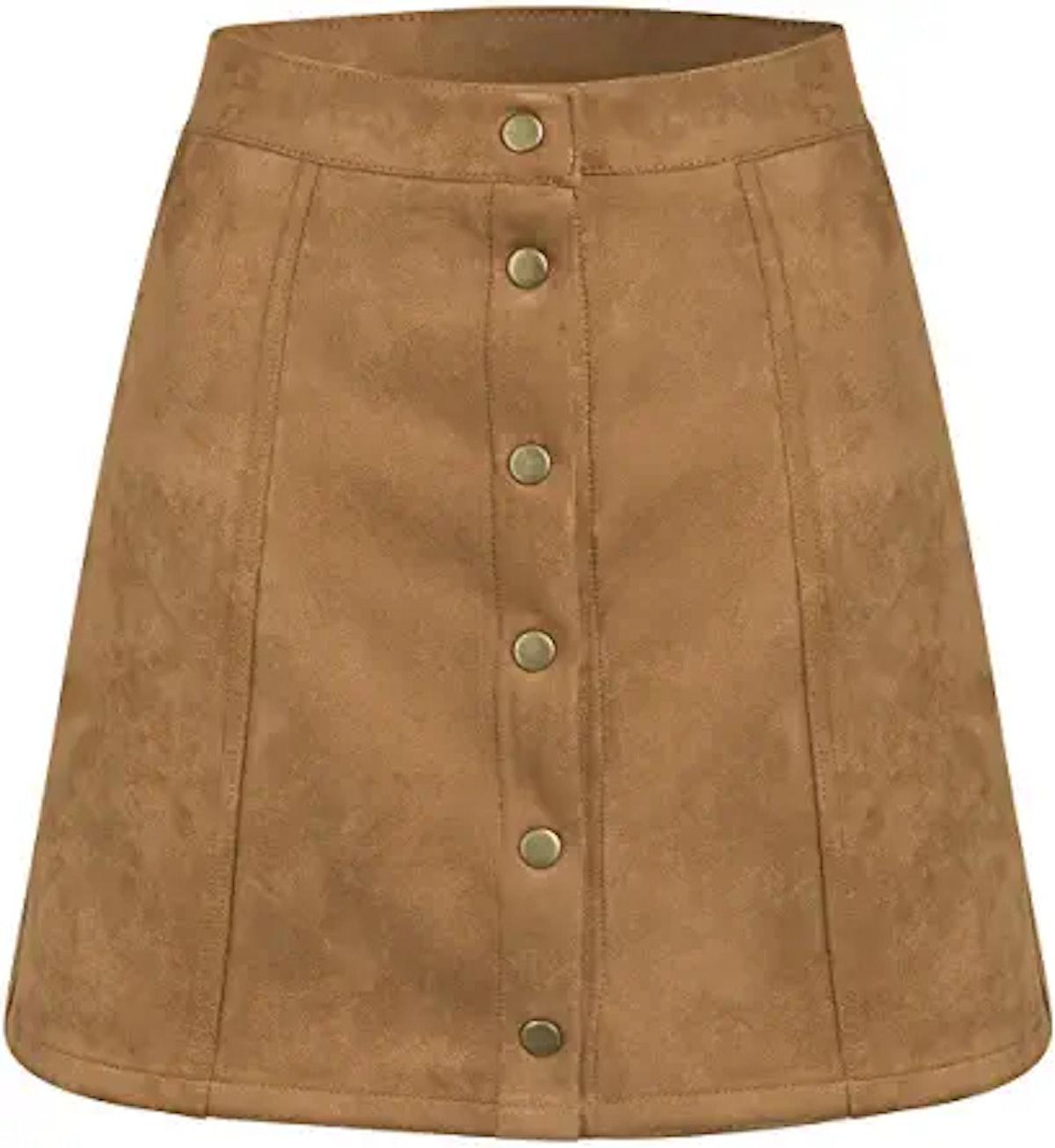 PERSUN Women's High Waist Faux Suede Button Front Plain A-Line Mini Skirt