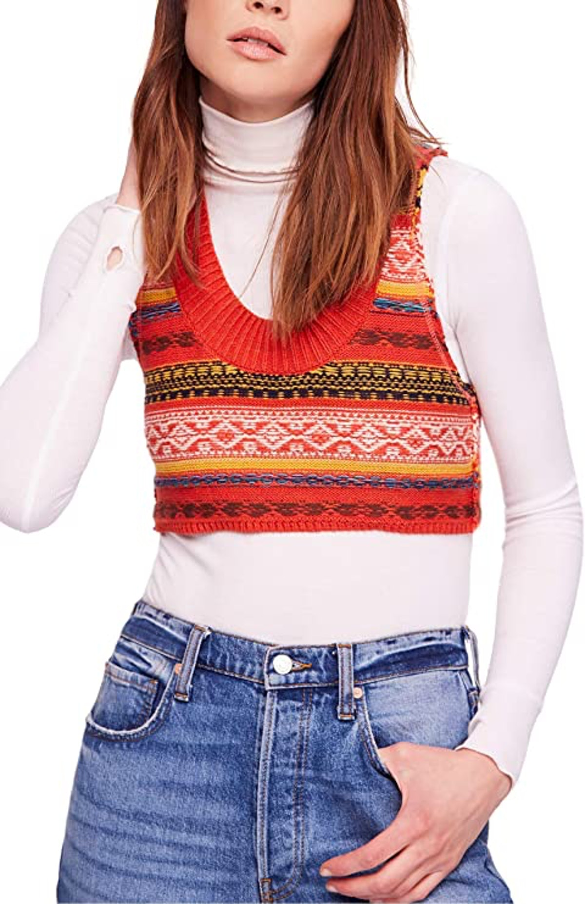 Free People Women's Fields of Fair-Isle Cropped Sweater Vest