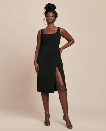 Square Neck Sleeveless Pencil Dress with Thigh Slit