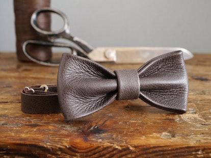 KingsleyLeather bow tie via Etsy