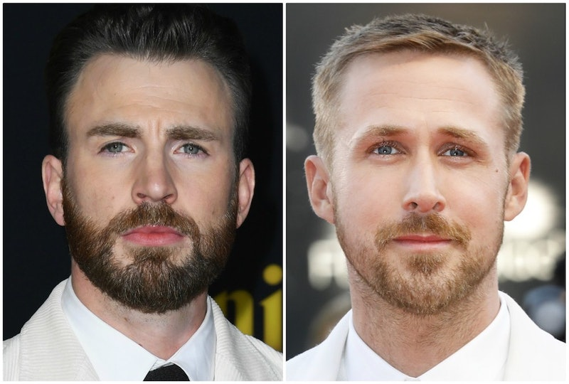 Split image of Chris Evans and Ryan Gosling