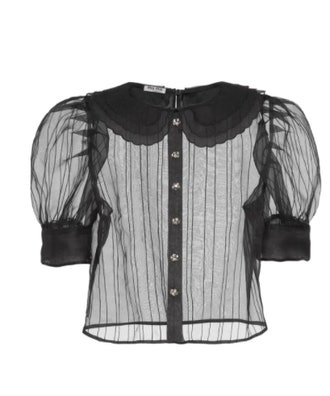 Puffed Short-sleeve Sheer Blouse