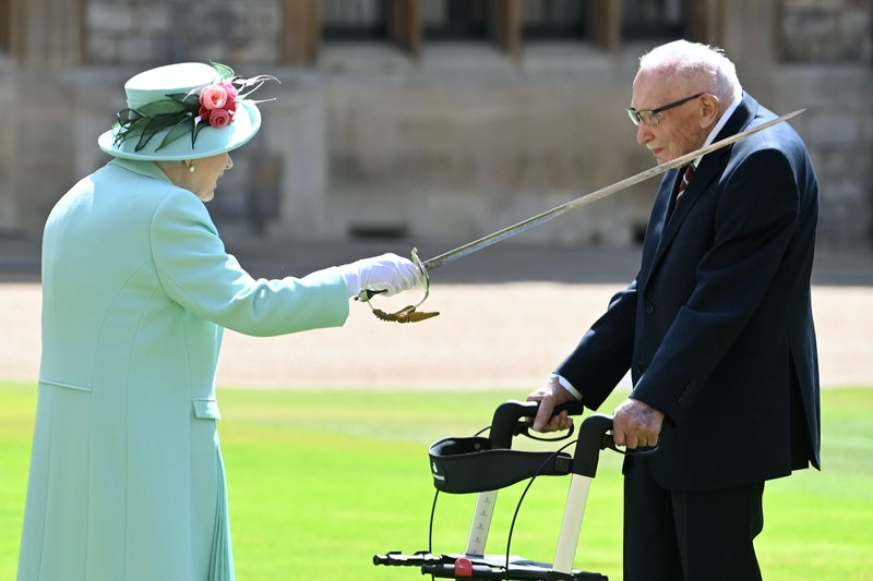 Tom Moore is knight by the Queen on July 17, 2020.