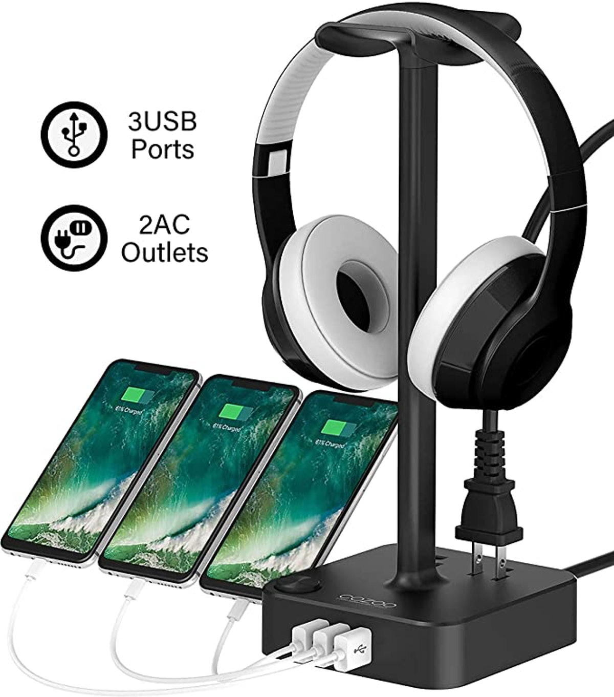 Cozoo Hradphone Stand with USB Charger