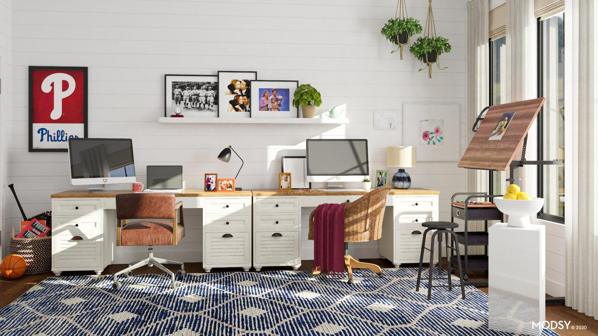 Modsy's 'The Office' Zoom backgrounds include Jim and Pam's office with the teapot.