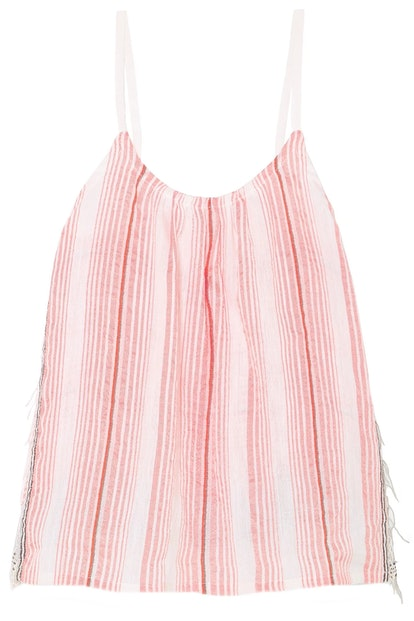 Tereza fringed striped cotton-blend gauze top
